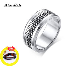Ataullah Rotatable Spinner Ring Music Piano Keyboard Ring Stainless Steel Personality Jewelry for Man Birthday Gift RW049(China)