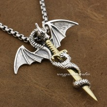 lying Dragon & Brass Sword 925 Sterling Silver Mens Biker Pendant 8P027(Necklace 24inch)