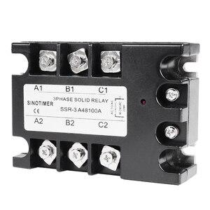 Image 4 - 3 المرحلة تتابع 60A 80A 100A SSR 90 280 فولت AC 20mA AC إلى AC تتابع الحالة الصلبة ثلاثة المرحلة Rele مع غطاء