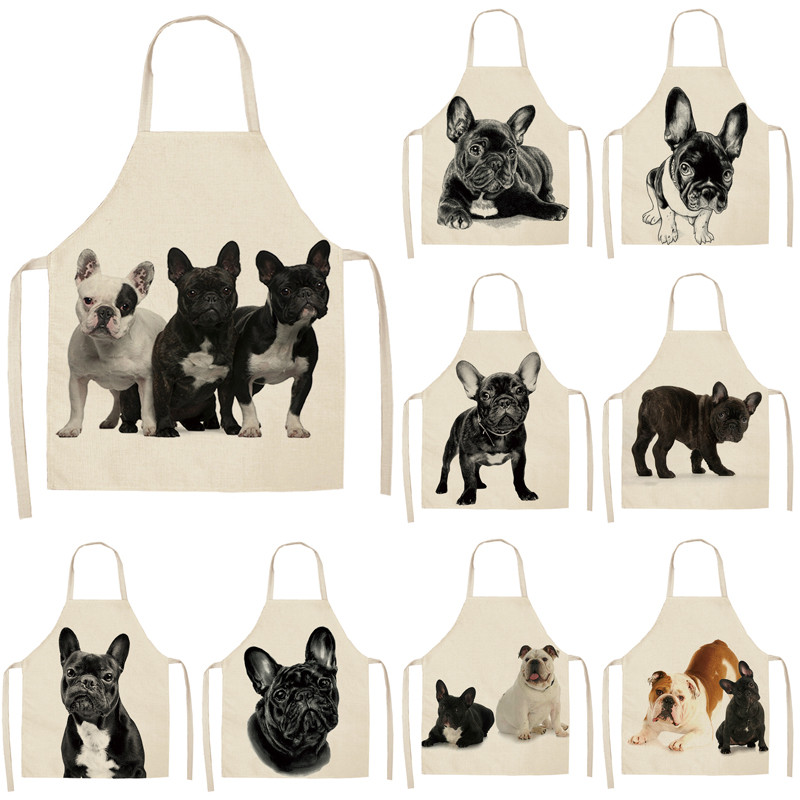 1Pcs Bulldog Printing Kitchen Aprons Unisex Dinner Party Cooking Waist Bib Cotton Linen Pinafore Cleaning Tools 53*65cm A1032