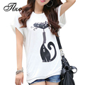 Black & White PLUS SIZE L-4XL Women Casual Loose Tees 2017 New Summer Korean Cute Cate Printed Lady Fashion T-Shirt