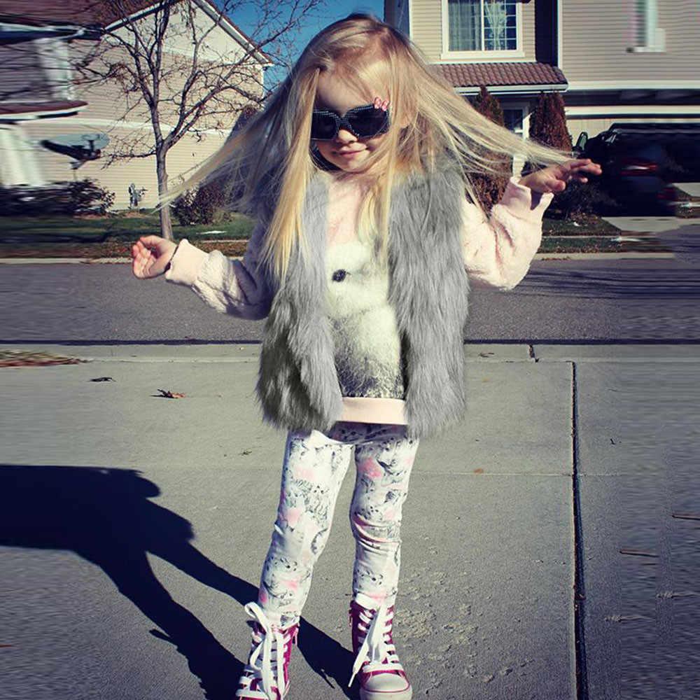 TELOTUNY yelek kızlar için şık kürk moda yelek bebek kız kış sıcak giysiler suni kürklü yelek kalın dış giyim 1- 6T ZS11