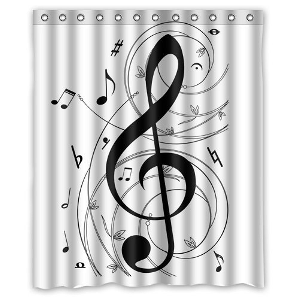 Memory Home Bathroom Product White Shower Curtains Black Music Notes  Pattern Waterproof Polyester Fabric Shower Curtain