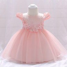 02be906df2a3f Retail Lace Floral Appliques Little Princess Baby Puffy Short Sleeves  Birthday dress Pearl Baby Girls Party Dress L1842XZ