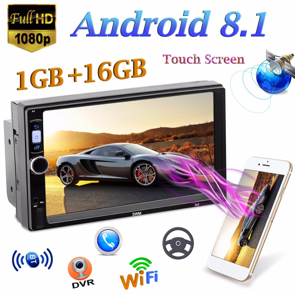 """Android 8.1 7/"""" 2Din Quad-Core Car Stereo MP5 Player GPS FM Radio WiFi BT 4.0"""