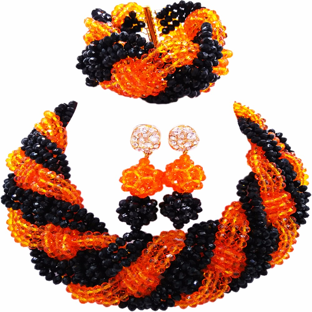 Beautiful Black Orange Crystal Beaded Necklaces Costume Nigerian Wedding African Beads Jewelry Set for Women 12BZ04