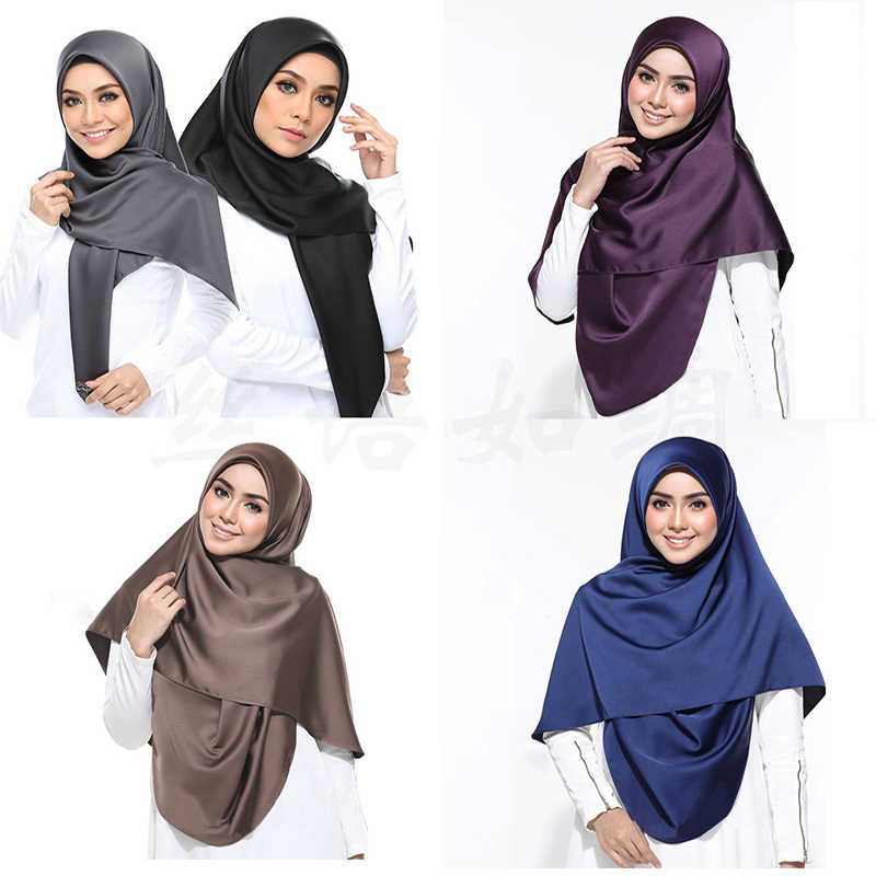 2019 New satin hijab scarf for women Malaysia silk headscarf muslim islamic clothing hijabs stole shawls and wraps hoofddoek