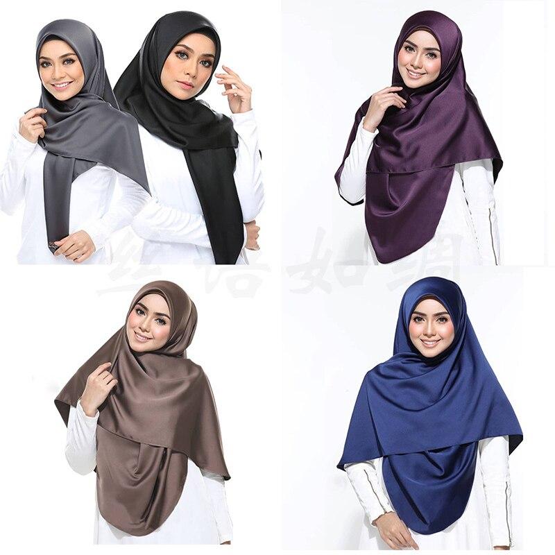 2020 New Satin Hijab Scarf For Women Malaysia Silk Headscarf Muslim Islamic Clothing Hijabs Stole Shawls And Wraps Hoofddoek
