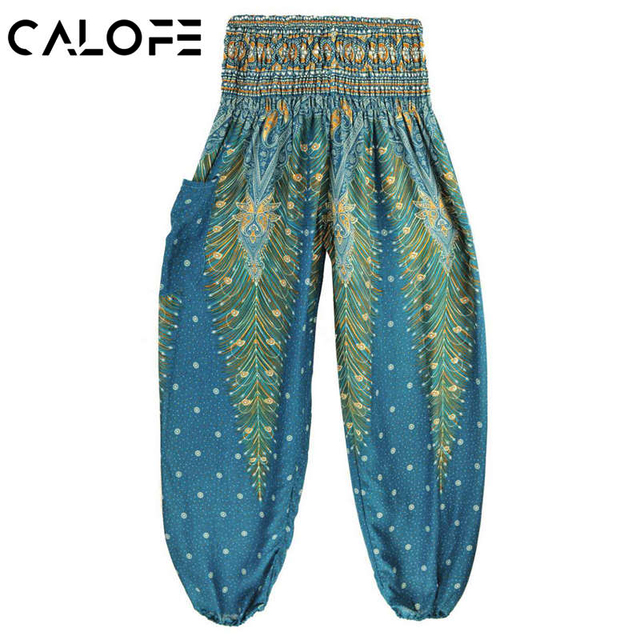 CALOFE Peacock Printed Yoga Pants Indian Ethnic Pilates Bloomers Women High Waist Wide Legs Breathable Sport Dance Trousers z25