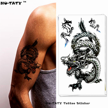 Nu-TATY Eastern Long Black Dragon Temporary Tattoo Body Art Arm Flash Tattoo Stickers 17x10cm Waterproof Fake Henna Painless