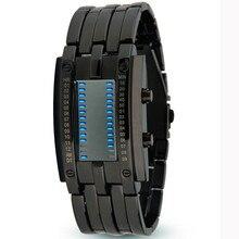 Новый lava led часы стали внешний вид вольфрамовой стали мужские часы двоичный двойной линии пары светодиодные часы электронные часы