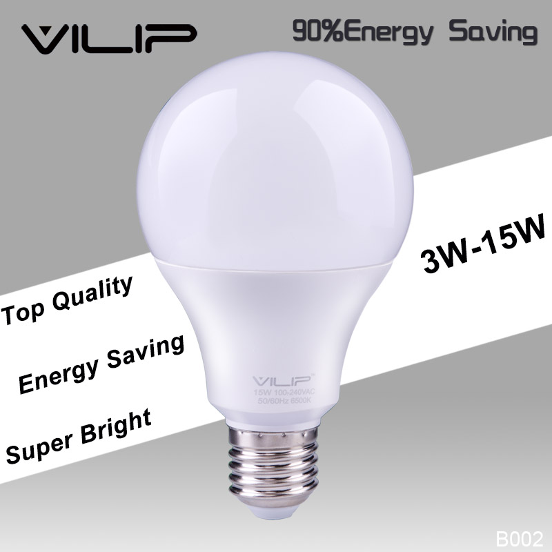 Vilip High Power High Brightness Bulb Lighting 3w 5w 7w 9w 12w 15w 110v 220v AC100-240V lamparas SMD2835 Cold White lamp b002
