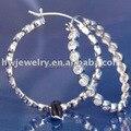 silver hoop earring/ sterling silver 925 hoop earrings/cz sterling silver earring