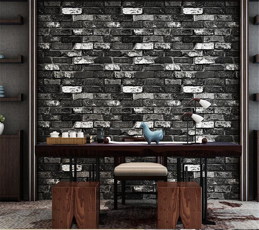 Beibehang Modern brick 3d stone wallpaper roll Green brick Red brick wall background wallpaper for living room pvc 3D wallpaper beibehang stone brick wall 3d wallpaper roll modern retro pvc vinyl wall bedroom living room background wallpaper for walls 3 d
