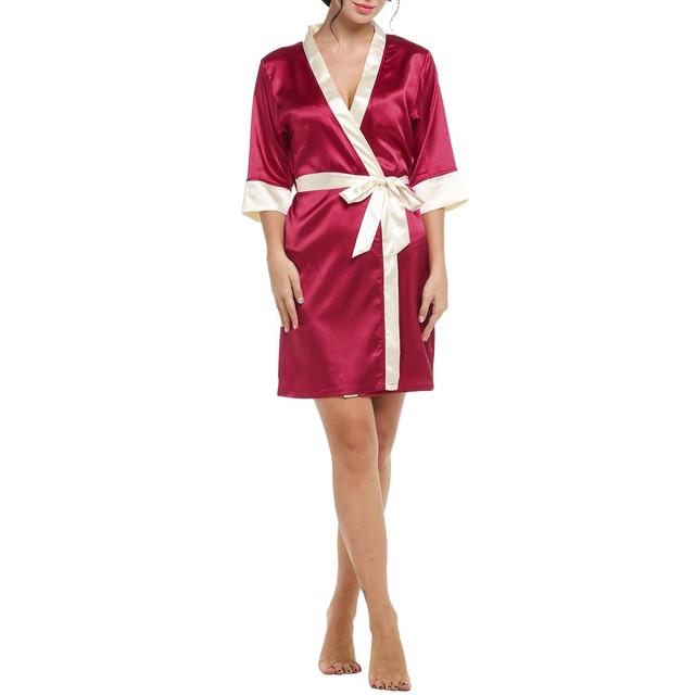 Hlaf Luva das mulheres Kimono Pijamas Mulheres Robe de Renda Sexy Sleepwear Roupão Plus Size Camisola Sólida Noite Vestido de Pijamas Mujer