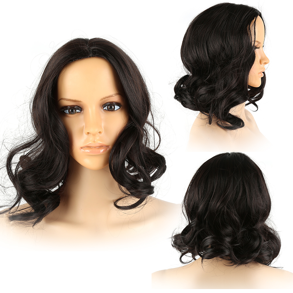 Glueless Short Loose Wave Curly Heat Resistant Front Lace For Human Hair Wigs Bob Hair Black Fiber Wigs Woman Hot sale