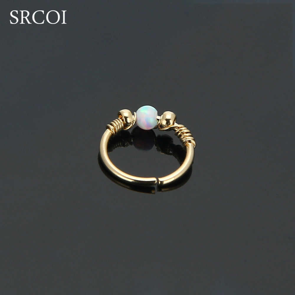 Api Opal Hoops Helix Piercing Telinga Cartilage Bedah Baja Septum Clickers Cincin Hidung Bibir Tragus Daith Migrain Piercing