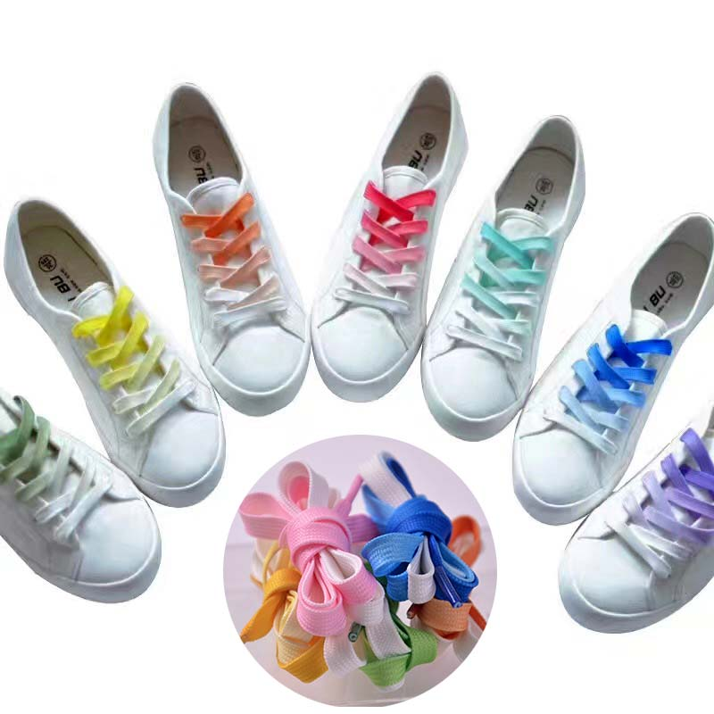 Hot Flat Color Gradient Changing Colors Shoe Laces Party Camping Boots Shoelace Strings Growing Sport Shoelaces Drop Shipping
