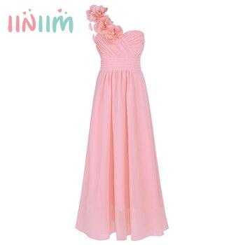6 color Niñas verano vestido bordado de los niños Vestidos un hombro ...