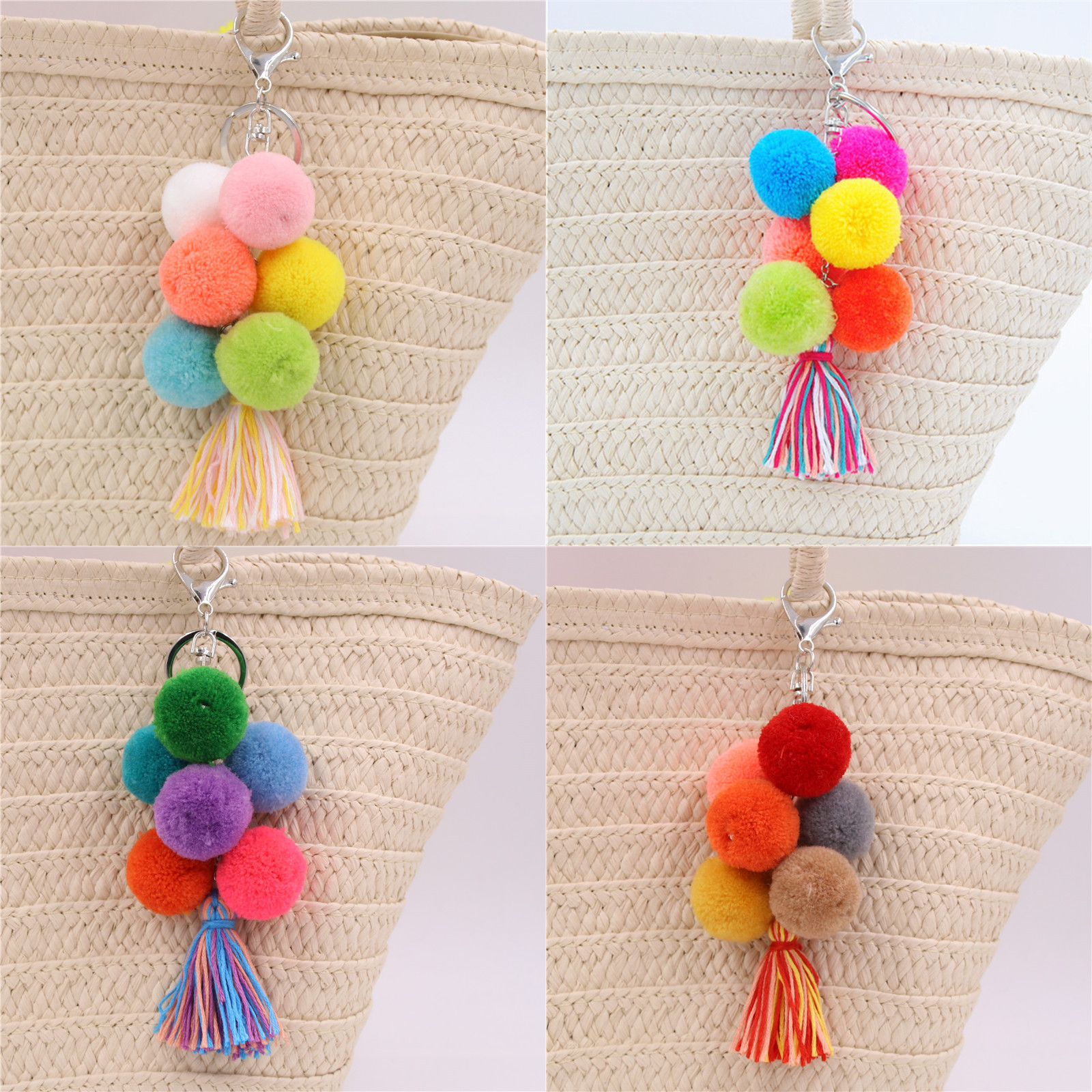 1pc Colorful Boho <font><b>Pom</b></font> <font><b>Pom</b></font> <font><b>Keyring</b></font> Bag Accessories Tassel Bag Car Rainbow Charm Keychains Gift image