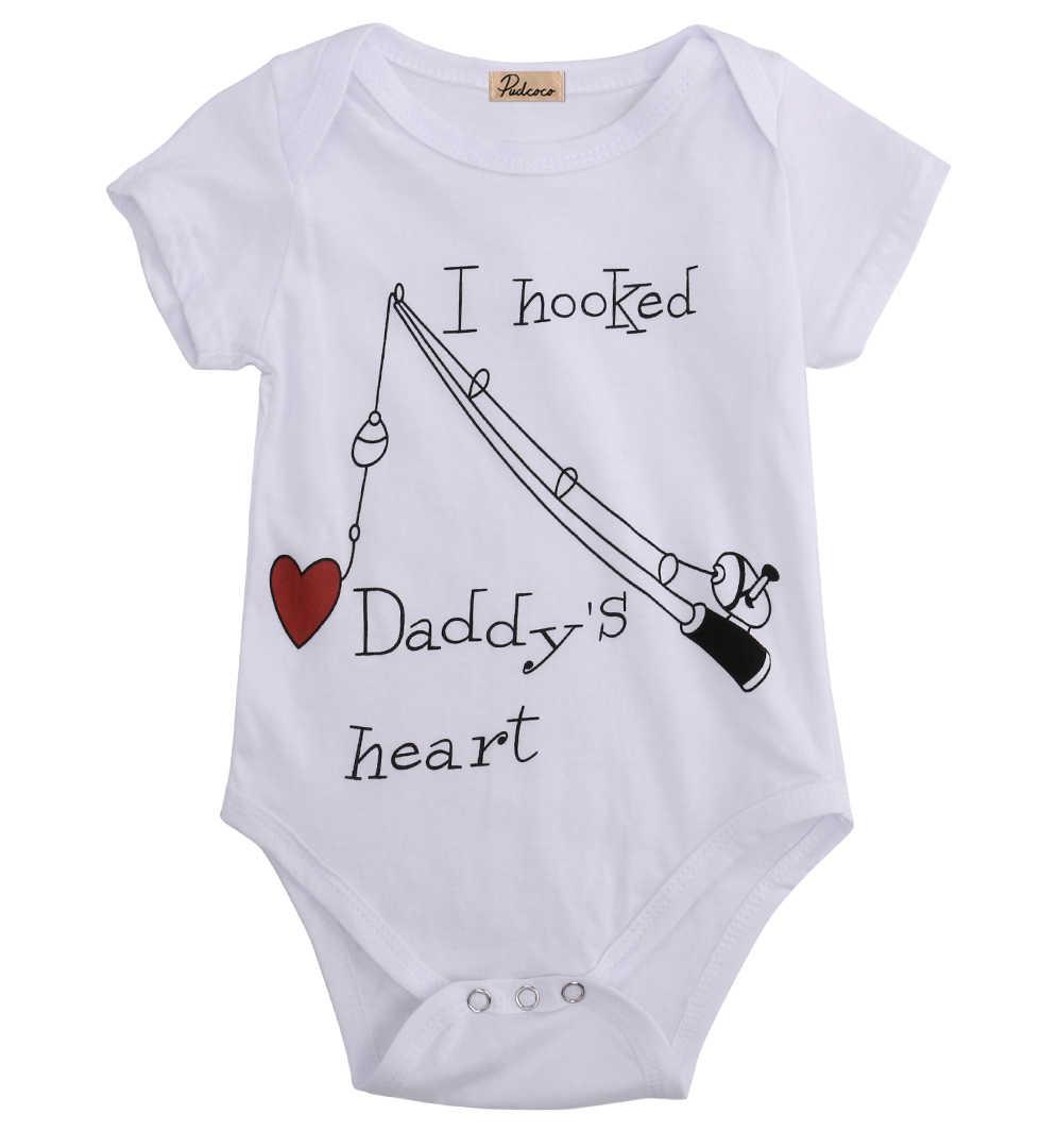 2017 בגדי ילדה ילד תינוק בן יומו מכור של אבא Rompers Playsuit Babygrows לב