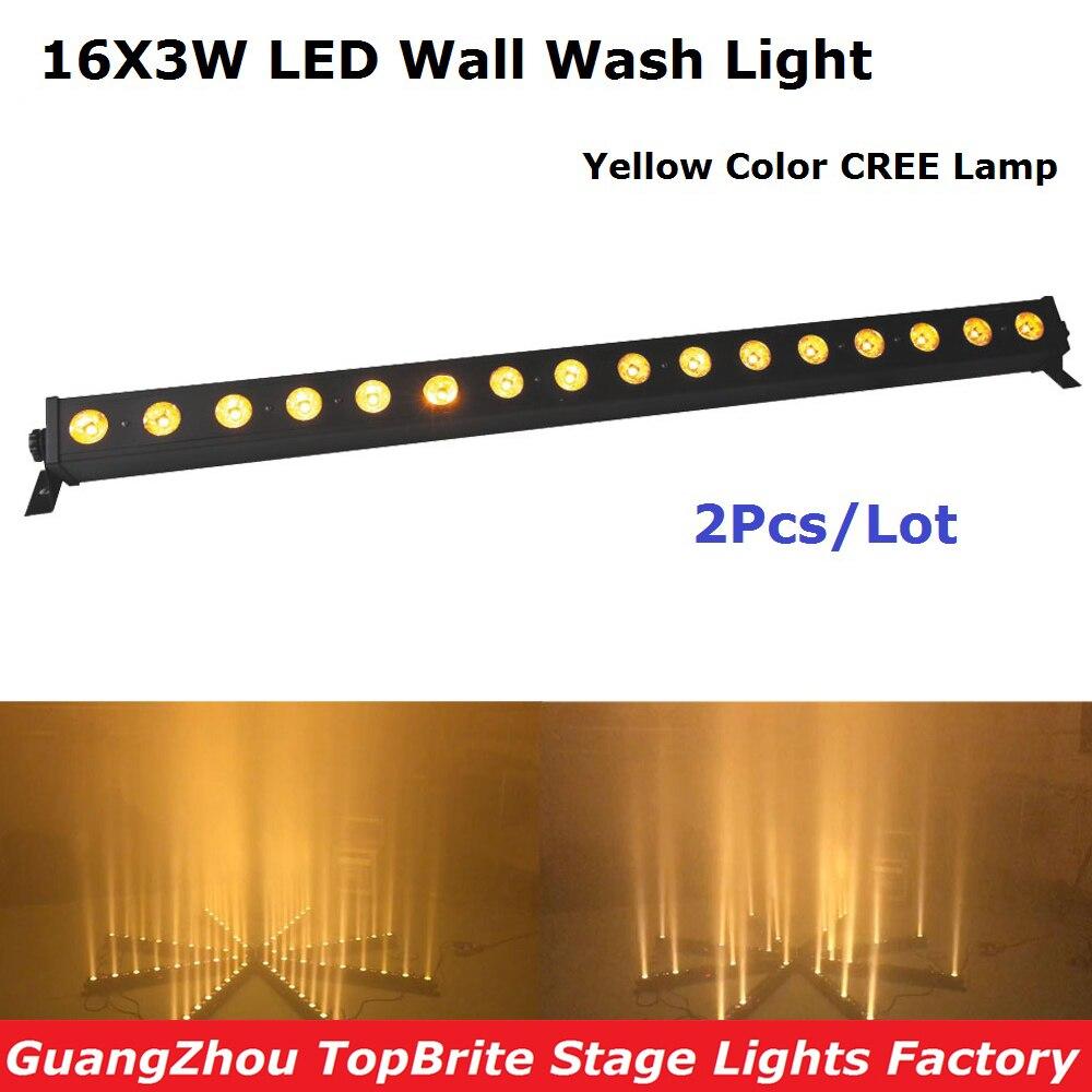 2019 Նոր ժամանում 2XLot դեղին գույնով պատված պատի լվացման լույսի 16 * 3W LED գծի բարերի բեմի լույսերով վարվող ձիու գործառույթով անվճար առաքմամբ
