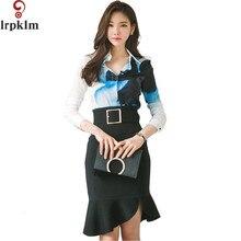 2017 Brand Women Spring Suit Print Midi Skirt Suit 2 Two Piece Blouse Skirt Set Loose Knee Length Split Pencil Skirt YY241