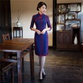 Free Shipping 1/2 Sleeve New Sale Lace Qipao Chinese Women's Clothing Cheong-sam Dress Blend Cotton Qipao For Women 2 Color