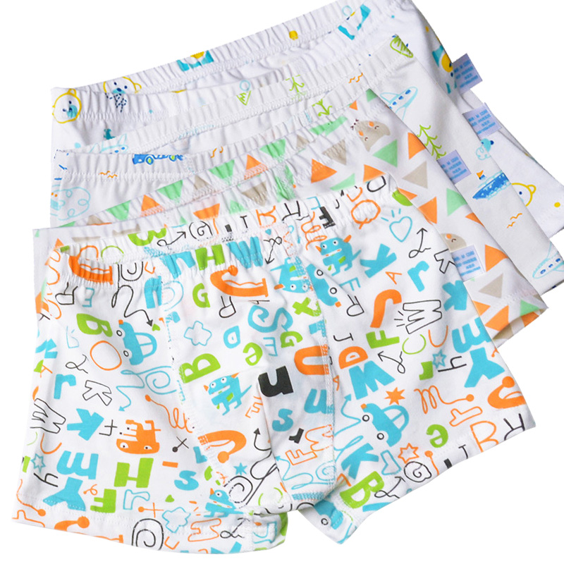 4pcs/lot Cartoon Cool Car Letter Bear Boys Panties Briefs Soft Cotton Boys Boxers Kids Underwear Shorts