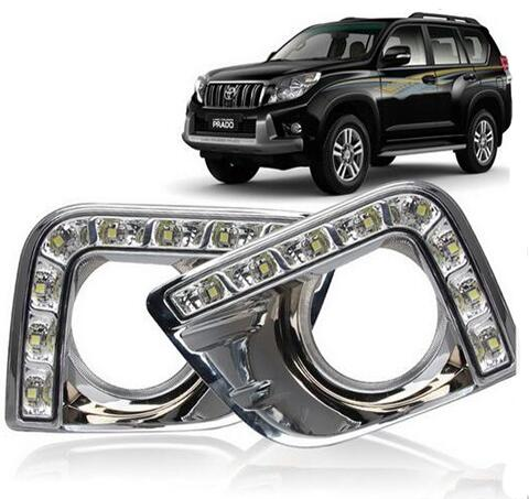 цены  Car Stlying 12V LED Daytime Running Light DRL Fog Lamp Decoration For Toyota Prado 2008 2009 2010 2011 2012 2013 2014 2015 2PCS