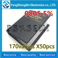 170values *50pcs 8500pcs Sample Book  0805 Smd Resistor 5% 0r~10m  Sample Book  Resistors Assortment Kit Freeshipping