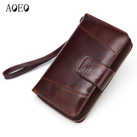 AOEO Men Leather Wallets Genuine Phone Bag Multifunctional Cowhide Long Purse Male Clutch Bags Calfskin Mens Wallet Organizer
