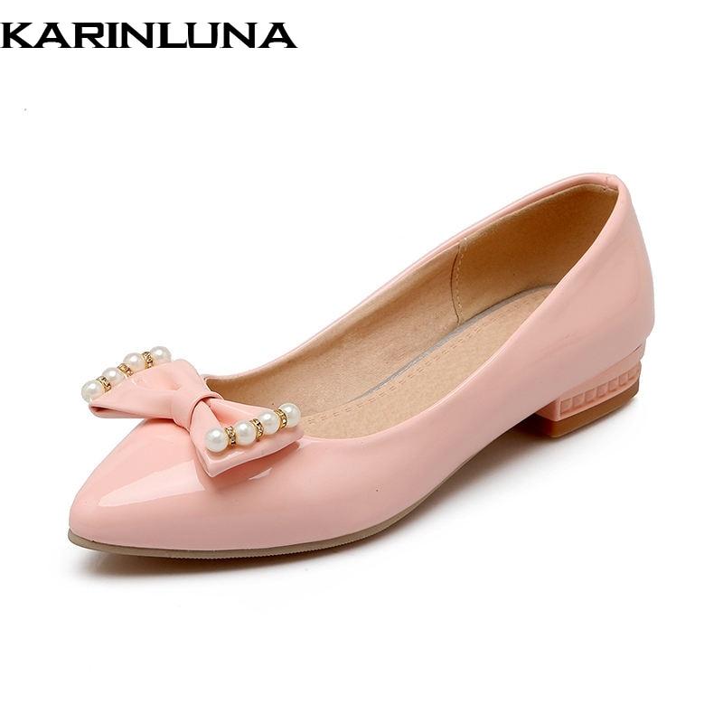 KARINLUNA  on sale Spring Autumn Sweet Shallow Women Flats Bow Beading slip-on Shoes Woman Big Size 33-43 Casual Footwear karinluna 2018 spring autumn hot sale