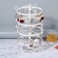Creative Four layer Jewelry Storage Rack 360 Degrees Rotating Metal Rack Earrings Shelf Display Stand Earrings Storage Container