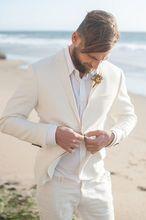Latest Coat Pant Designs Ivory White Linen Causal Beach Wedding Suits Slim Fit 2 Piece Groom Tuxedo Suits Custom Blazer Vestidos