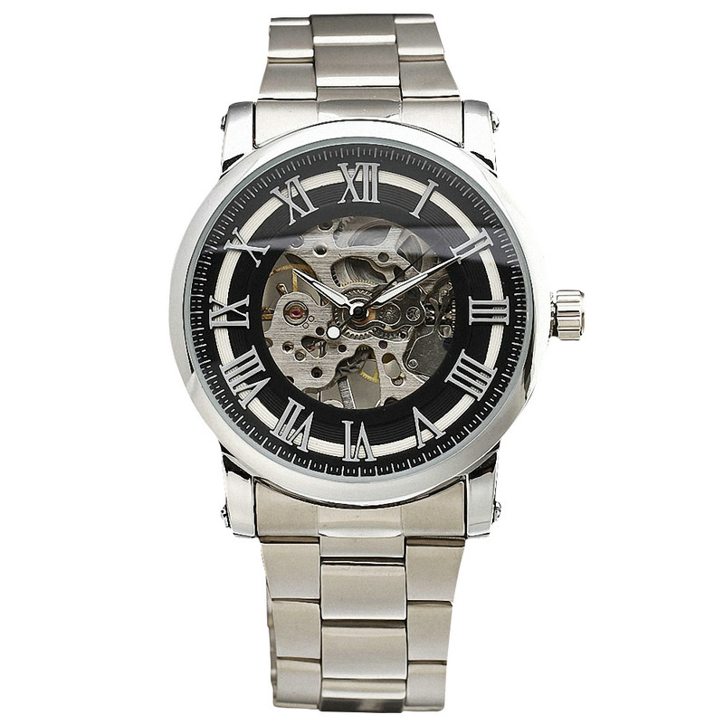 WINNER Formal Delicate Concise Men s Mechanical Wrist Watch Stainless Steel Strap Roman Numbers W Box