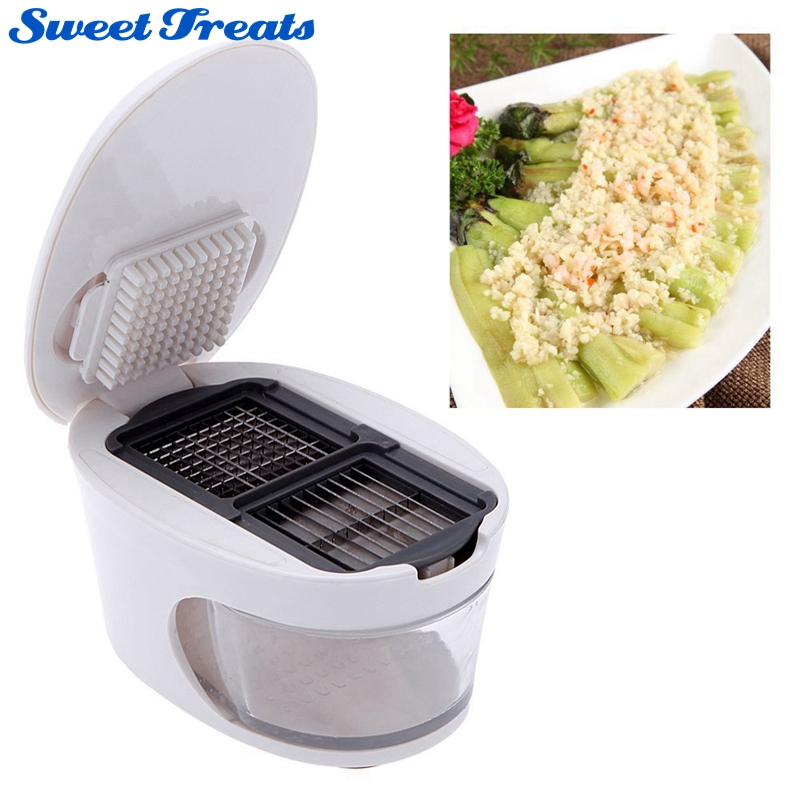 Sweettreats 3 in 1 Plastic Garlic Press Presser Grater Dicing Slicing and Storage Kitchen Fruit Vegetable Cooking Tools