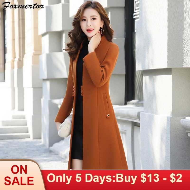 Outerwear Overcoat Spring Autumn Women Wool Coat New Fashion Long Woolen Coat Single Breasted Slim Type Female Winter Wool Coats