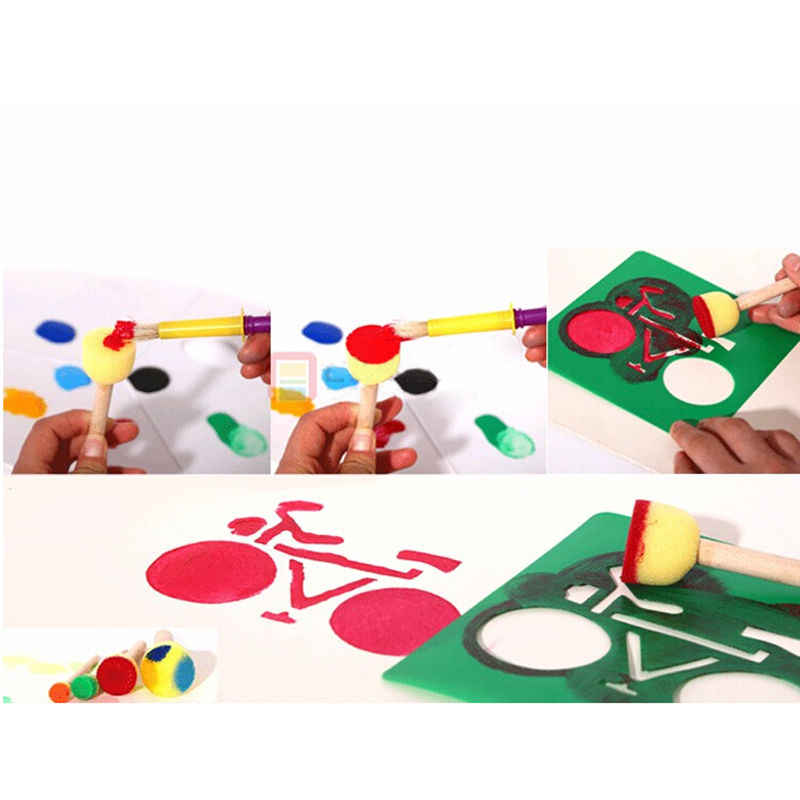 Giallo spugna guarnizione a spazzola spugna pennello originale manico in legno per bambini pittura bambini graffiti di vernice giocattolo di doodle fai da te 4 pz/set