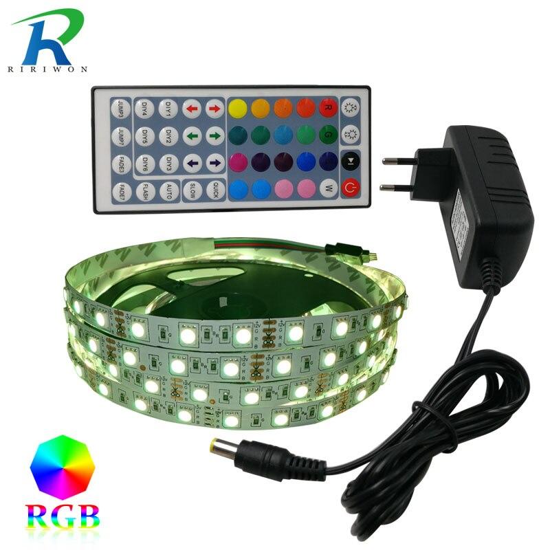 RiRi won SMD5050 RGB LED Strip Light tape diode 220V Waterproof SMD 60leds/m 5m led flexible light controller DC 12V adapter set