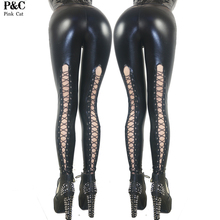 7aecfd3e581 Celebrity Spring Brand New 2017 Women Sexy Gothic Punk Rock Wet Look Fux Leather  Lace Up