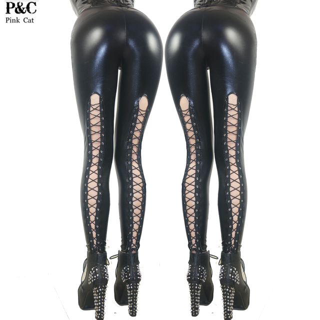 Celebrity Spring Brand New 2017 Women Sexy Gothic Punk Rock Wet Look Fux Leather Lace Up Back Legging Pants Clubwear Leggins
