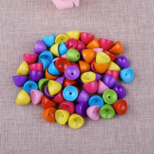 Fashion Colorful Straight Hole Beads 35pcs/Lot European No harm Acrylic Spacer Half Bead For DIY Jewelry Making Decoration