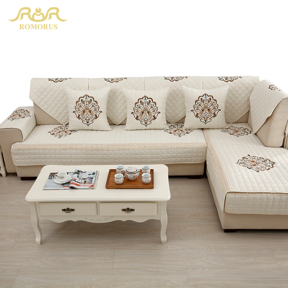 US $13.77 21% OFF|1 Piece Embroidered Slipcovers Sofa Covers Non slip  Cotton Quilted Corner Sectional Sofa Couch Cover Living Room Sofa  Decoration-in ...