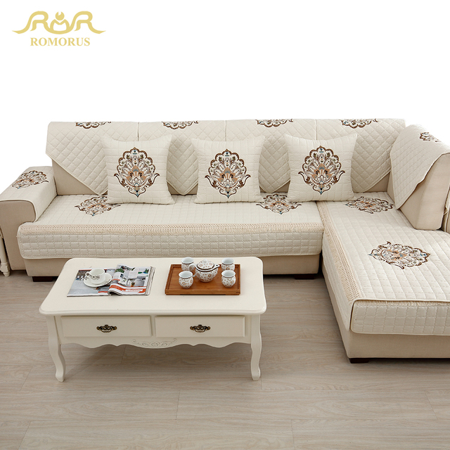 1 Piece Embroidered Slipcovers Sofa Covers Non Slip Cotton Quilted Corner Sectional  Sofa Couch Cover Living Room Sofa Decoration