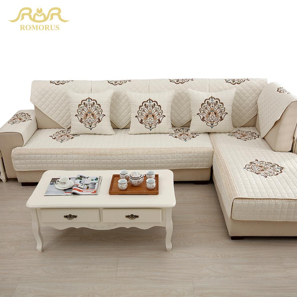 Vier Jahreszeiten Bestickte Hussen Sofabezge Rutschfeste Gesteppte Ecke Schnittsofa Couch Abdeckung Sofa Im Wohnzimmer Dekoration