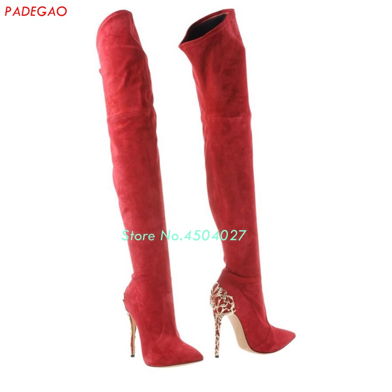 где купить New style women long boots metal decorated shoes over the knee boots fashion red black pointed toe thigh high boots stiletto hee дешево