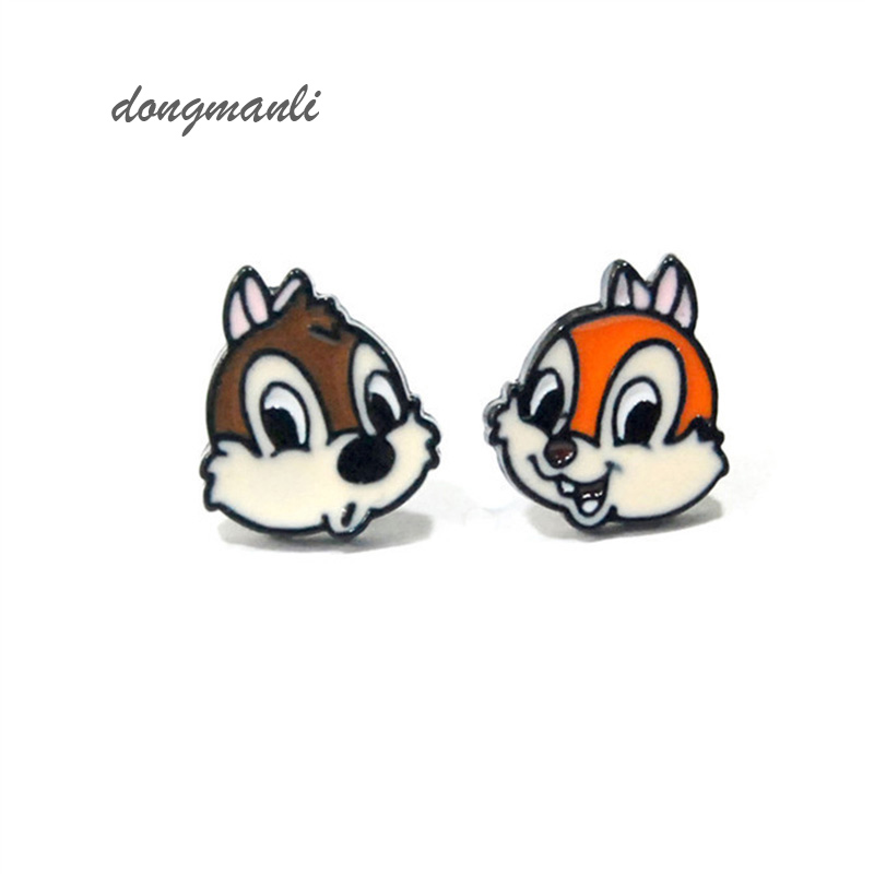 W5236 Lovely squirrel Alvin and the Chipmunks enamel epoxy earrings Chip 'n Dale- Rescue Rangers female fashion jewelry