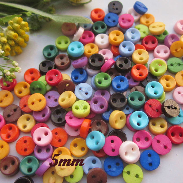 250pcs Mixed   1 color 5mm round bowl tiny doll button for crafting Mini  buttons bulk b06979f95def