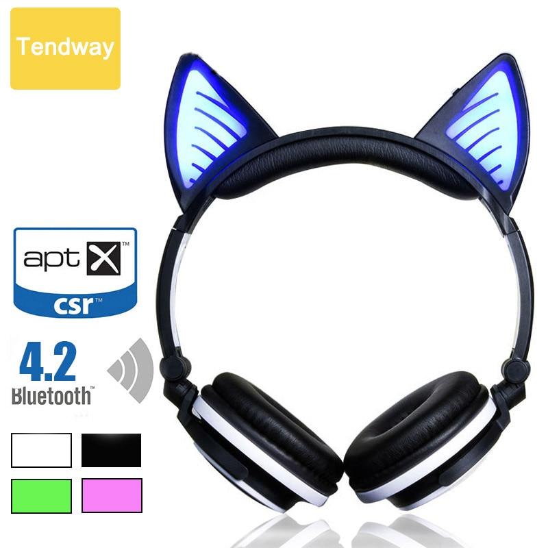 bilder für Katze Ohr Drahtlose bluetooth Kopfhörer mit Mikrofon Led Luminous Gaming Headset 4,2 CSR für computeror